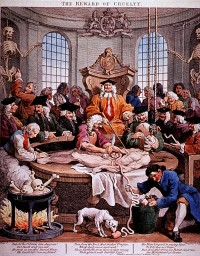 The Reward of Cruelty, satirical depiction of anatomized criminal by William Hogarth, 1751