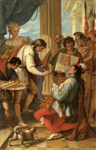 """Investiture of Marco Corner as Count of Zara in 1344"" by Sebastiano Ricci, late 17th, early 18th c."