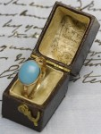 Jane Austen turquoise and gold ring in its original box