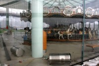 Jane's Carousel after Sandy, trash cans overturned