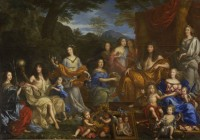 """Louis XIV and the Royal Family"" by Jean Nocret, 1670; Louis on the right as Apollo holding a sun scepter"
