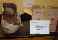 The mummy and shipping package, Bolivian post office, 2010