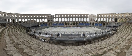 A hockey rink is built in the ancient Roman Pula Arena