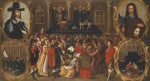 The Execution of Charles I, unknown painter, Juxon wearing the long robe next to the King in bottom left panel and central execution panel