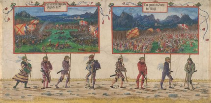 """The Swiss War and The Neapolitan War"" from the ""Triumphal Procession of Emperor Maximilian I"" by Albrecht Altdorfer and workshop, c. 1512-1515 © Albertina, Vienna"
