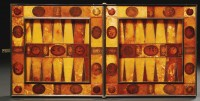 Amber gameboard opened to the backgammon diptych