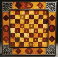 Amber gameboard chess side