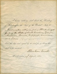 """Affix the seal"" order for the blockade of Southern states signed by Abraham Lincoln, April 19th, 1861"