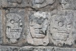 Late Mayan skull reliefs on Temple of the Skull at Chichen Itza