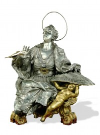 Saint Irene, silver, gilded brass, by Carlo Schisano, 1733