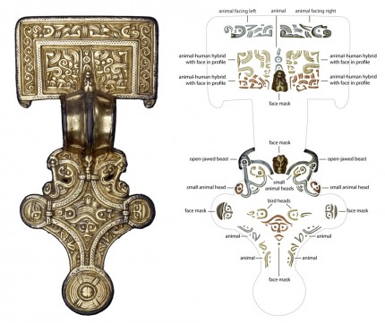 Silver-gilt square-headed brooch, early 6th c. A.D., and interpretive map