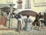 "Peinetones on the street in ""Extravagancias de 1834"" by César Hipólito Bacle"