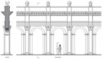 Architectural archaeologist rendering of part of facade