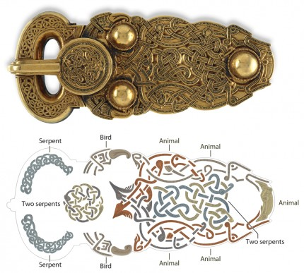 Great buckle from Sutton Hoo and interpretive map