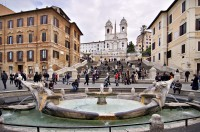 Piazza di Spagna; the Keats-Shelley Memorial where Keats died is the buff-colored palazzo to the right of the Spanish Steps