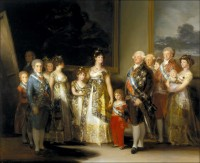 """Charles IV of Spain and his Family"" by Goya, 1800. Ferdinand and his resolute gaze are on the left in the blue suit."