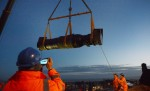 Mons Meg lifted by crane from Edinburgh Castle