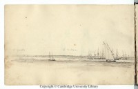 Montevideo from the anchored Beagle, Conrad Martens, 1833