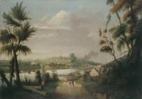 """A Direct North General View of Sydney Cove,"" by convict Thomas Watling, 1794"