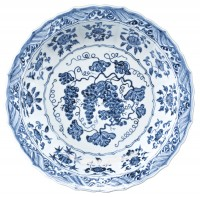 Mahin Banu Grape Dish, Ming Dynasty, Yongle Period, ca. 1420. Image courtesy Sotheby's.