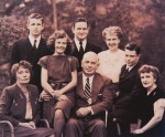 Marston family portrait 1947. Standing left to right: Byrne Marston, Moulton (Pete) Marston, Olive Byrne. Seated left to right: Marjorie Wilkes, Olive Ann Marston. William Moulton Marston, Donn Marston, Elizabeth Holloway Marston