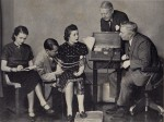 Marston (seated right) gives lie detector test in 1938, Olive Byrne (seated left) takes notes