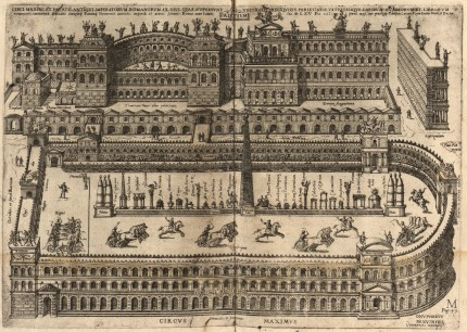 "Engraving of Circus Maximus in antiquity, Arch of Titus right, as printed in ""De ludis circensibus"" by Onofrio Panvinio, etchings by Étienne Dupérac, published 1600."