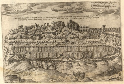 "Engraving of Circus Maximus ca. 1560 when it was irrigated farmland, mill, tower, dwellings and decaying fortifactions right, as printed in ""De ludis circensibus"" by Onofrio Panvinio, etchings by Étienne Dupérac, published 1600"