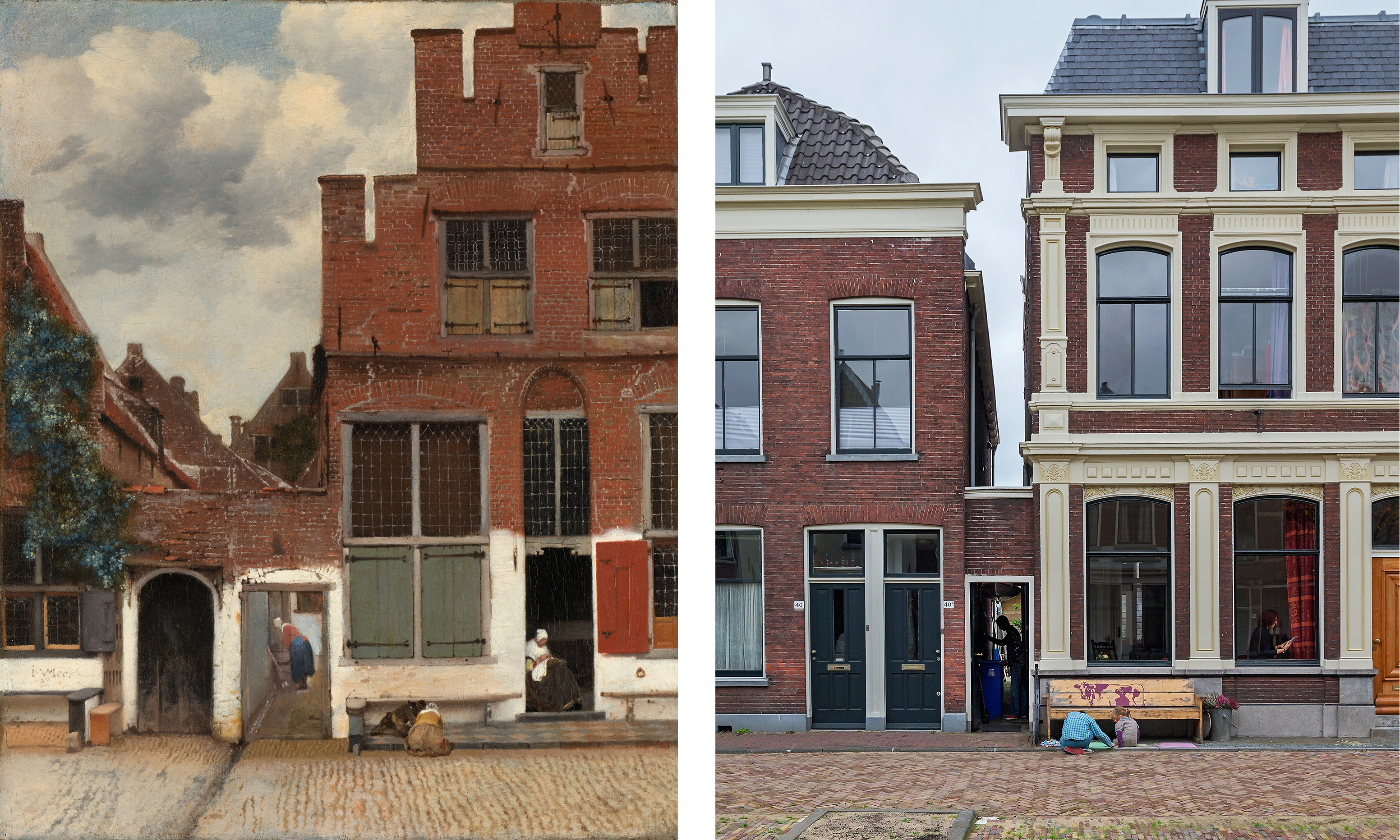 The Little Street now and then. Image courtesy the Rijksmuseum.