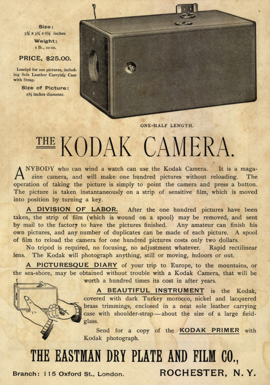 camera and eastman kodak company 1884 - american inventor george eastman patents photographic film stored in a roll four years later he had perfected the first camera to take advantage of his invention 1892 - the company which would eventually be called kodak was founded in rochester, new york the meaningless name was chosen.