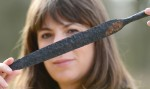 Spear head unearthed from Pocklington warrior burial. Photo by Anna Gowthorpe.