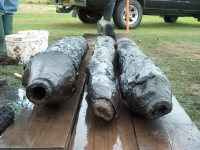 Alder wood water pipes. Photo courtesy the Vindolanda Trust.