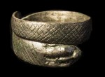 A silver ring shaped like a snake found in Catterick. Photo © Northern Archaeological Associates
