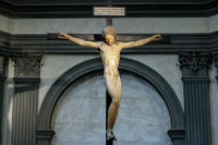 Michelangelo crucifix hangs in new location in the basilica of Santo Spirito in Florence. Photo by Niccolo Cambi/Massimo Sestini.