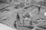 HRH Prince Charles with archaeologists Peter Addyman and Richard Hall at the Coppergate dig in 1976. Photo courtesy York Archaeological Trust.