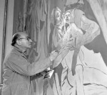 "Hans Feibusch paints ""Ascension"" at St Mark's Church, April 2nd, 1963. Photo courtesy the Coventry Telegraph."
