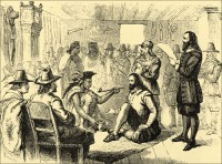 Massasoit Ousamequin smoking a peace pipe with Governor John Carver when the alliance was made in 1621.