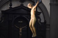 Side view of crucifix hanging at Santo Spirito. Photo by Alberto Pizzoli/AFP.