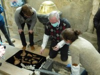 Researchers exhume bones from Fécamp Abbey, February 29th, 2016. Photo by Vegard Strømsodd.
