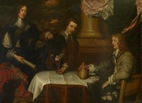 Group portrait of Prince Rupert, Colonel William Legge and Colonel John Russell by William Dobson, ca. 1645, 150 x 198 cm © Ashmolean Museum, University of Oxford.