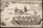 Drawing of Maori attacking Tasman's ships in what he named Murderer's Bay (now Golden Bay, New Zealand), by expedition artist Isaack Gilsemans, 1642.