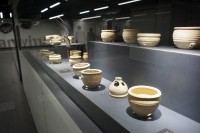 Ancient Roman pottery on display in the San Giovanni subway station. Photo by Andrew Medichini/AP.