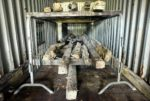 Willington Waggonway timbers in storage. Photo courtesy the Willington Waggonway Research Programme.