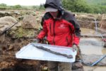 Dr Andrew Birley with sword. Photo courtesy the Vindolanda Trust.