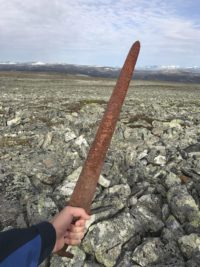 Einar Ambakk weilds the Viking sword he just found. Photo by Einar Ambakk.