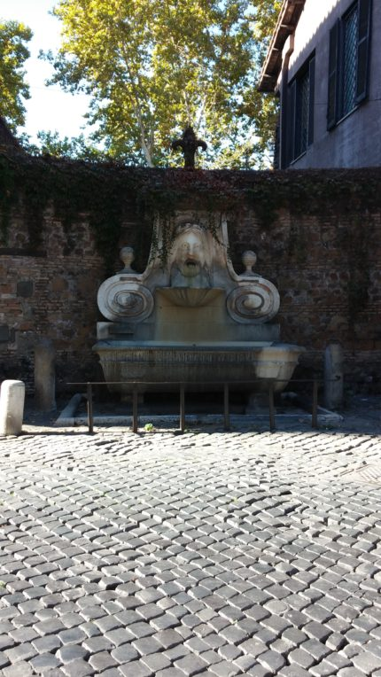 Mascherone fountain is reduced to dribbling, I'm afraid. Drought is a concern. Photo by yours truly.