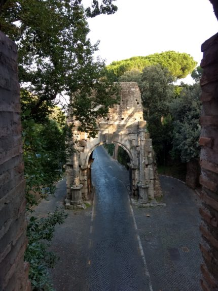 Arch of Drusus viewed through the window of the first gallery in the Museo delle Mura.
