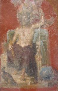 Fresco of Zeus enthroned inspired by Pheidias sculpture, Casa dei Dioscuri, Pompeii. National Archeological Museum of Naples.