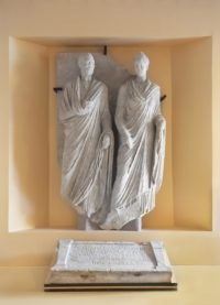 Restored relief of Eurysaces and Atistia with epitaph at their feet. Photo courtesy Centrale Montemartini.