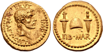 Previously unpublished EID MAR aureus coming up for auction. Photo courtesy Roman Numismatics.